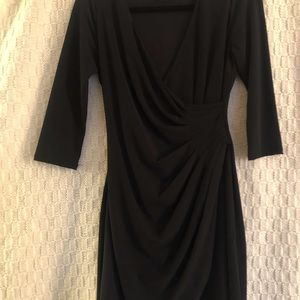 3/4 sleeve black cocktail dress